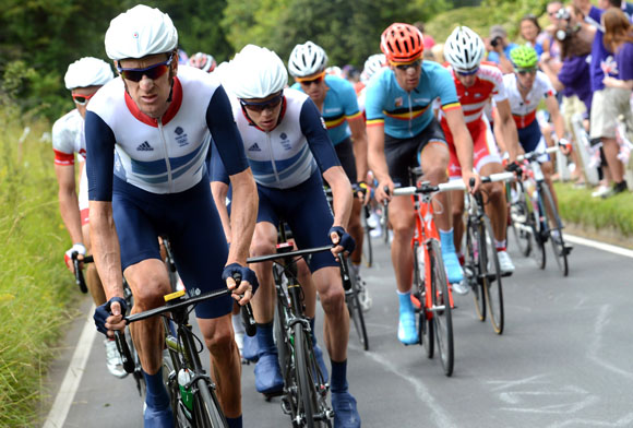 Team GB chases in the Mens Olympic Road Race